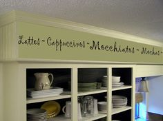 Coffee Kitchen Words Border Vinyl Wall Decor- Cafe- Vinyl Wall Decal Kitchen Decor by landbgraphics on Etsy https://www.etsy.com/listing/97918680/coffee-kitchen-words-border-vinyl-wall