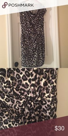 Michael Kors dress Gray, black and white leopard pattern dress with gather to one side in front and cowl neck design. 94% polyester, 6% spandex MICHAEL Michael Kors Dresses