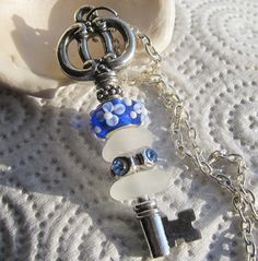 """skeleton key beach glass key or necklace with 27"""" chain!"""