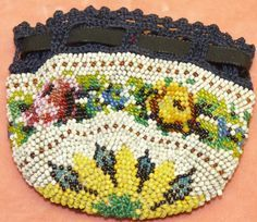 Old Antique Floral Beaded Reticule Crochet Drawstring Purse Sunflower Roses #Drawstring