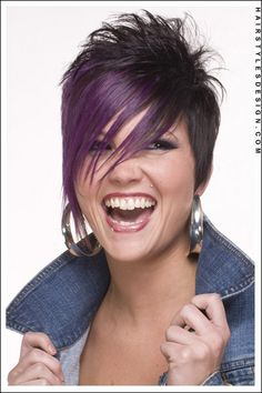 Short Hairstyles - Emo Styled hair Long Side Swept Bangs with Spiky Back!