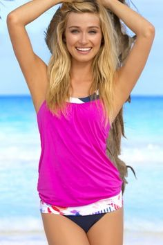 5a9d84831d Flaunt your curves in HAPARI's NautaBloom Blouson Tankini Top. Perfect for  a day at the