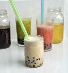 Milky bubble tea recipes: Strawberry Black Bubble Tea,  Honeydew Kiwi Green Bubble Tea,  Cinnamon Milk Tea
