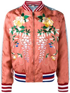 0d331facfb5 Gucci floral-embroidered bomber jacket in the trending coral rose color so  beautiful Satin Bomber