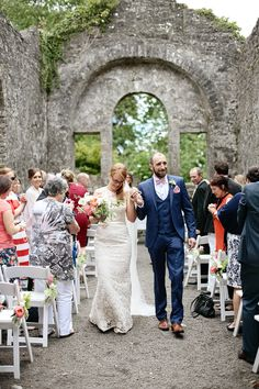 Outdoor humanist wedding ceremony in old church ruin in Ireland, Loughcrew Gardens