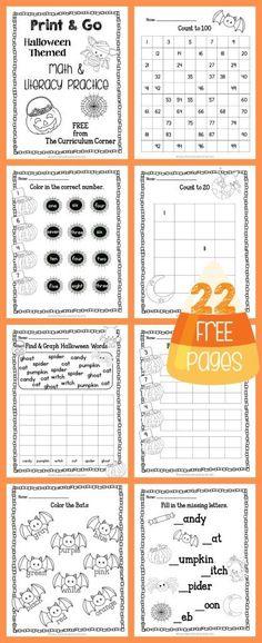 FREEBIE! 22 Halloween Print & Go Math and Literacy Pages   The Curriculum Corner   morning work   Kindergarten   1st Grade