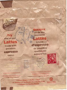 Back - Tim Horton's Envelope - I love coffee, so I was thrilled when a Canadian mail art friend sent me this. If I ever visit Canada, I will have to try Tim Horton's coffee and see how it compares to Starbucks.