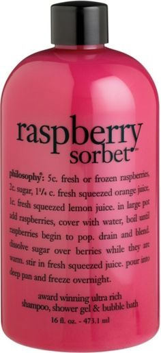 PhilosophyRaspberry Sorbet Shampoo, Shower Gel & Bubble Bath Perfume Lady Million, Raspberry Sorbet, Spa Day At Home, How To Squeeze Lemons, Bubble Bath, Shower Gel, Body Wash, Giorgio Armani, Bath And Body