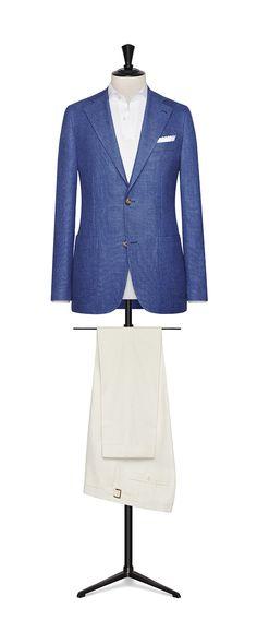 Tailor Made London Spring/Summer 2018 Mid Blue linen-cotton mouliné hopsack men jacket code: 8380