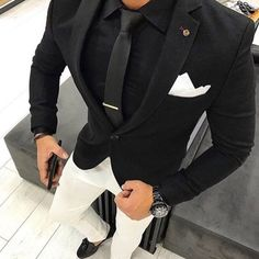Black Men Suits Business Man Clothing Groom Wea Wedding Tuxedos Costume Mariage Homme Groomsmen Blazer Two Piece Slim Fit trajes de hombre Mens Fashion Suits, Mens Suits, Fashion Hats, Dapper Suits, Fashion Outfits, Style Masculin, Designer Suits For Men, Herren Outfit, Mens Clothing Styles