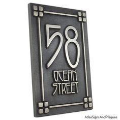 2 number craftsman mission style bungalow address plaque for Bungalow house numbers