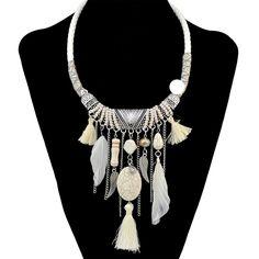 2017 new bohemian gypsy tuyên bố thời trang vòng cổ dài tassel vòng cổ mặt dây chuyền choker vintage maxi vòng cổ phụ nữ fine jewelry