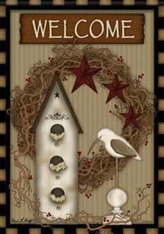 Country Birdhouse Welcome decorative house flag