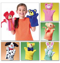 Uncut sewing pattern includes paper pattern pieces and instructions to make seven animal hand puppets including a bunny, bear, mouse pig, cat, dog and monkey. Glove Puppets, Felt Puppets, Puppets For Kids, Puppet Crafts, Doll Crafts, Kids Crafts, Puppet Patterns, Sewing Patterns, Vintage Patterns