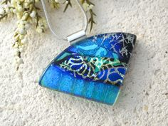 Emerald Green Blue Necklace, Dichroic  Necklace, Fused Glass Jewelry,  Dichroic Glass Pendant, Wedge Statement Necklace 070415p119 by ccvalenzo on Etsy