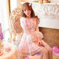 Princess sweet lolita dress Candy rain 2016 new spring Japanese sweet lace stitching Chiffon floral dress princess C16AB5658-in Dresses from Women's Clothing & Accessories on Aliexpress.com | Alibaba Group