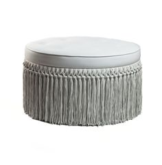 BARBARELLA LUXE LEATHER FRINGED OTTOMAN - FOOTSTOOLS - FOOTSTOOLS, FRINGING AND OCCASIONAL FURNITURE