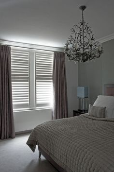 Shutters with curtains Beautiful Bedrooms, Home Bedroom, Bedroom Design, Home Decor, House Interior, London Bedroom, Bedroom Shutters, Relaxing Bedroom, Bedroom Windows