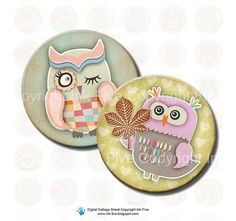 Autumn Owls 1 inch circles bottle caps Digital Collage by InkFive