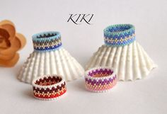 Beaded ring, peyote ring, seedbead metallic lined patterned ring with stylish various colours in band style unique handmade beadwork
