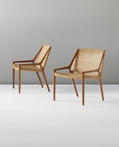 Ejnar Larsen and Aksel Bender Madsen; Teak and Cane Lounge Chairs for Willy Beck, c1951.