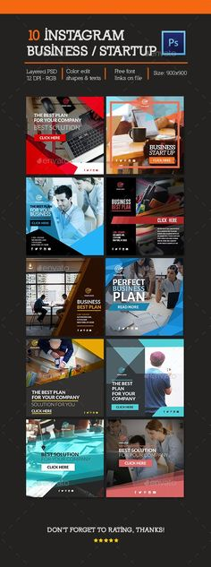10 Business Instagram Banners Template PSD #advertising #ad #promotion