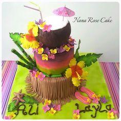 Hawaiian cake - Cake by Nana Rose Cake Hawaiin Cake, Hawaiian Birthday Cakes, Luau Birthday, Luau Cakes, Beach Cakes, Party Cakes, Cake Roses, Rose Cake, Flamingo Party