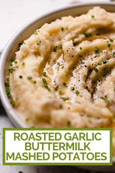 an easy & ultra creamy roasted garlic buttermilk mashed potatoes recipe! these buttermilk mashed potatoes are easy to make & perfect for the holidays! Buttermilk Mashed Potatoes, Homemade Mashed Potatoes, Garlic Mashed Potatoes, Mashed Potato Recipes, Unique Potato Recipes, Easy Recipes, Buttermilk Recipes, Daily Meals, Roasted Garlic