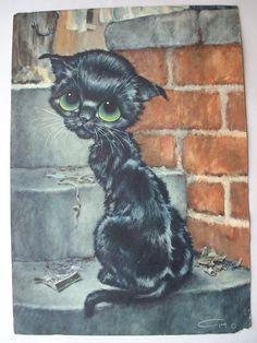 Vintage Gig 1965 Pity Kitty Big Eyed Cat Prints - Original Set Of 4