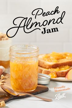 Full of ripe peaches and toasted almonds, Ball®'s Peach Almond Jam is a delightful addition to your pantry this season! Spread this flavorful jam on your morning toast or have atop a bowl of yogurt. Jelly Recipes, Jam Recipes, Canning Recipes, Dessert Recipes, Recipies, Desserts, Sauces, Jam And Jelly, Balls Recipe