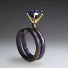 18K Yellow Gold, Anodized Titanium, Amethyst