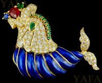 DAVID WEBB Diamond, Emerald, Ruby Fish Brooch