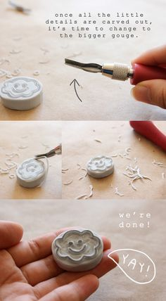 Easy DIY tutorial by Minna So on how to make hand-carved rubber stamps! Make your own stamps to create art prints, greeting cards and more! Make Your Own Stamp, Potato Stamp, Fun Crafts, Paper Crafts, Eraser Stamp, Tea Blog, Stamp Carving, Handmade Stamps, Stamp Printing