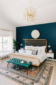 Kirsten Grove's signature style involves plenty of white, pink, and eye-catching interior tricks, like statement walls and retro furniture. Essentially, this interior stylist is creating every woman's dream house. Glam Bedroom, Bedroom Inspo, Bedroom Colors, Home Bedroom, Bedroom Inspiration, Dark Teal Bedroom, Bedroom Furniture, Kids Furniture, Color Inspiration