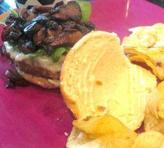 Mushroom Swiss Burger with Roasted Garlic Aioli