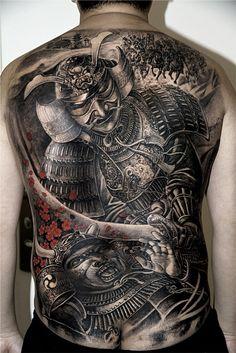 ... fighting samurai warriors tattoo on full back - Tattoos photos