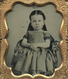 Vintage Photo Reproduction Gorgeous Civil War Girl Polka Dot Dress | eBay