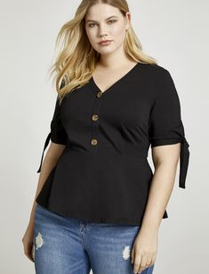 e2b446f7a Tie Sleeve Button Down Blouse | Women's Plus Size Tops | ELOQUII Plus Size  Tops,