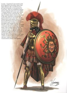 "King Leonidas of Sparta  _ representation  based on statue of Sparta Museum. Corinthian helmet with relief a ram's head ,symbol of father god Zeus, and the bravery in battle. Shield with emblem ""GORGO"" the female daemon, symbol of dynamic Spartan women, and the main Mora (battalion) of Sparta . Gorgo ,also was and the name of his wife"