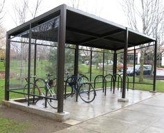 A bike shelter was built in honor of former Whatcom employee Denise Guren. Cheap Furniture Online, Affordable Furniture, Urban Furniture, Furniture Plans, Metal Furniture, Bike Parking Rack, Cycle Shelters, Bike Shelter, Bike Shed