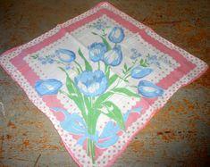 Vintage Handkerchief Floral Pink Blue Flowers by TheBackShak