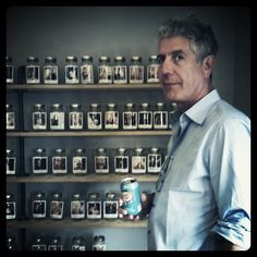 forget about mister bourdain... i like the polaroids in the jars on shelves idea....