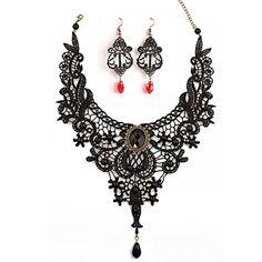Black Lace Necklace Earrings Set,JoyTong Lace Pendant Cho... https://www.amazon.com/dp/B01GEFJV9U/ref=cm_sw_r_pi_dp_x_SPP9xbWFT0HQ9