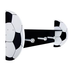 Display your little one's favorite books, toys, pictures or collectibles with this Soccer Themed Wall Shelf by Trend Lab. Wood shelf features a black shelf and back with black and white soccer ball sh Wall Shelf Decor, Nursery Wall Decor, Wall Shelves, Wood Shelf, Wood Wall, Soccer Room Decor, Soccer Bedroom, Soccer Themed Bedrooms, Baseball Shelf