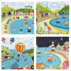 Beside the Seaside - A range ofcolourful, modern and contemporary cross stitch kits designed by Janet Bell for Bothy Threads. All have a Seaside theme and measure 26cm x 26cm. Stitched on 14 count aida.