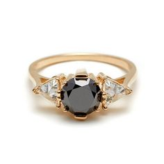 A unique Round Black Diamond engagement ring from designer Anna Sheffield based in NYC. Timeless alternative ceremonial commitment bands and engagement jewelry