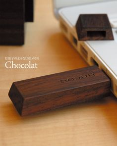 Handmade wood case USB flash drives are designed to look like popular Japanese snacks