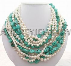 braided pearls and turquoise