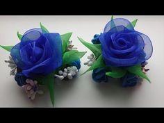 Заколки Канзаши. Синие Розы. Органза. - YouTube