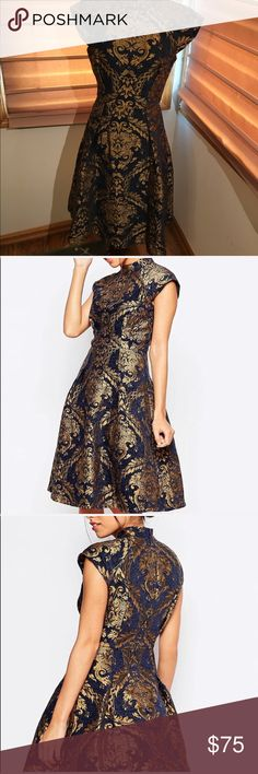Shop Women's Chi Chi London Blue Gold size 8 Dresses at a discounted price at Poshmark. Description: Chi Chi London Women's Blue High Neck Structured Skater Dress In Baroque Print. Chi Chi London Dress, Ladies Of London, London Blue, Size 8 Dress, Blue Gold, Skater Dress, Baroque, Formal Dresses, Closet